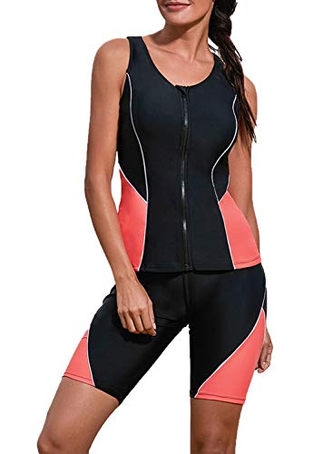 Dearlove Women Zipper Color Block Racerback Tankini Swimsuit Swim Capris Two Piece Rash Guard Athletic Swimwear Black M ()