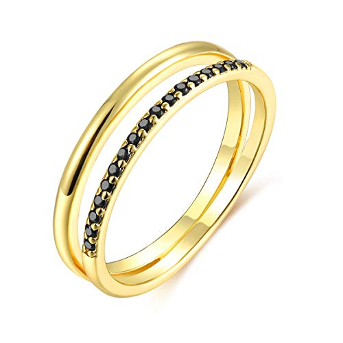 14k Gold Childrens Ring - Valloey 14K Gold Thin Beaded Rings, Full Bead Sterling Twisted Rope Wedding Band Stacking Ring for Women(Ring-Doub-8)