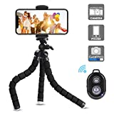Phone Tripod,Candywe Cell Phone Tripod Flexible Tripod with Bluetooth Remote Shutter,Mini Tripod for iPhone Android Phone Camera GoPro,Smartphone Tripod Mount Stand with Carry Pouch