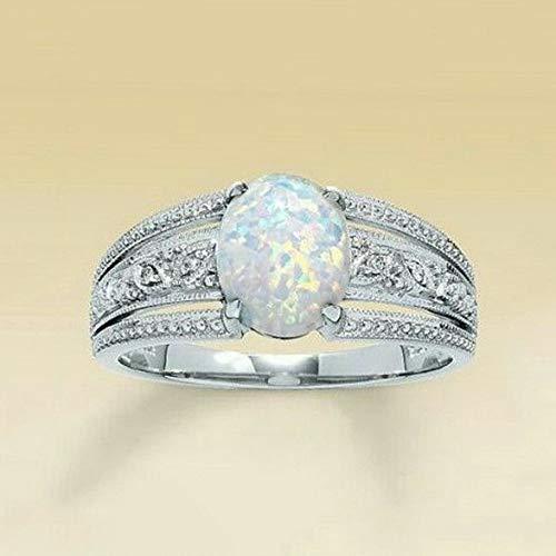 (Waldenn White Fire Opal Ring 925 Silver Women Men Wedding Gift Propose Jewelry Size 6-10 | Model RNG - 14203 | 6)