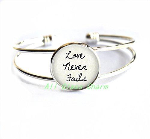 Beautiful Bracelet,Scripture Bracelet - Love Never Fails - Corinthians Quote - Love Jewelry - Faith in Love - Word Jewelry - Wedding Jewelry,AS0191 - Bronze Corinthian Corinthian Design