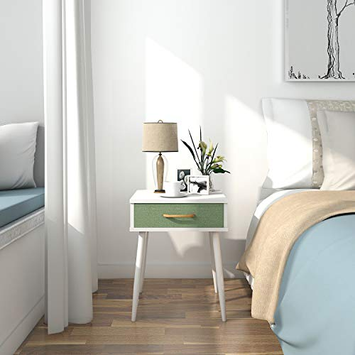 Lifewit Nightstand with 1 Fabric Drawer, Bedroom Side Table Bedside Table, Modern Design Accent Table, Sturdy and Easy Assembly, 15.7 15.7 20 inches, White