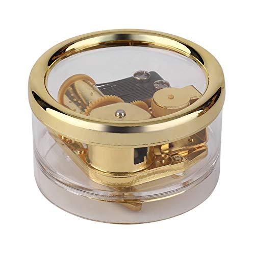 Finitgo Acrilico Trasparente Box Musica Moda Gurdy Clockwork Movimento Rotondo Music Box Gioca Castle Tunes in The Sky Migliore Regalo di MG-216