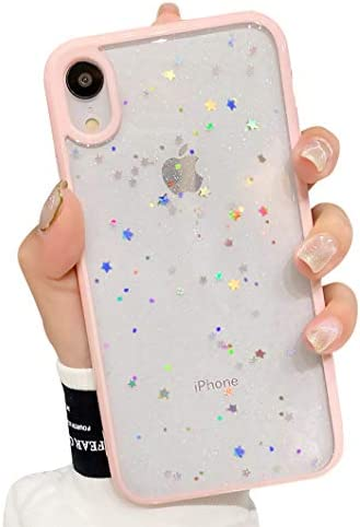 Cute Clear Phone Case Compatible for iPhone XR, 6.1-inch, Glitter Protective Cover for Girls Women (Pink)