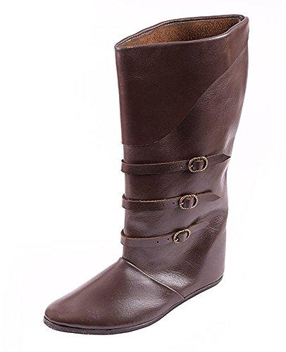 in fibbie et marrone media stivali pelle Medioevale scuro colore qg4XUwdw