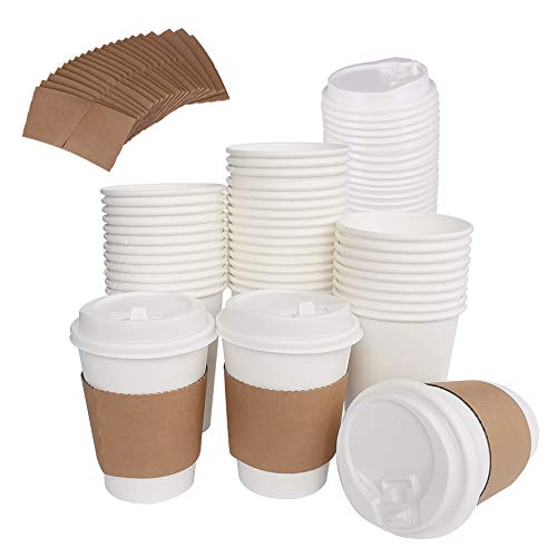 (100 Pack 12OZ HotPaper Coffee Cups with Travel Lids & Kraft Cardboard Sleeves - Disposable Paper Cups For Coffee, Tea, Hot or Cold Beverage by ZMYBCPACK)