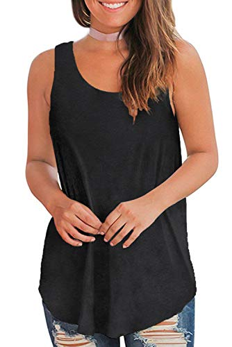 WFTBDREAM Tank Tops for Women Summer Sleeveless T-Shirts Blouses Black XL (Tank Long Black)