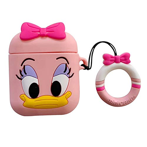 Ultra Thick Soft Silicone Pink Daisy Duck Case and Finger Loop for Apple Airpods with Charging Case Protective Mini Bag Protector Walt Disney Disneyland Cute Lovely Kawaii Fun Girls Teens Women