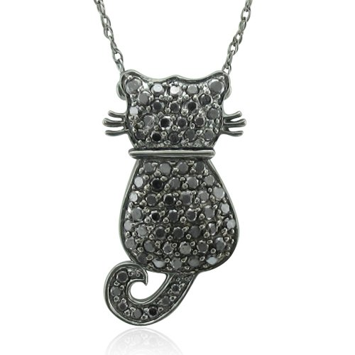 14k White Gold Black Diamond Cat Pendant Necklace – 0.50 carat