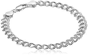 "Sterling Silver Double-Link Chain Bracelet, 7"""