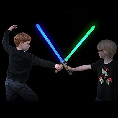 """Laser Sword's for Kids (2 Pack) - Double Bladed Light Saber Toy with Sounds – Blue/Green Colors - 28"""" inch – Perfect for Star Wars Themed Party – 6 AAA Batteries Included (replaceable)"""