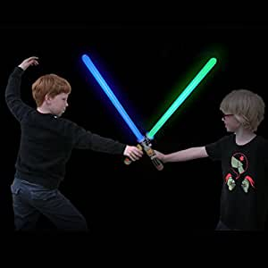 "Laser Sword's for Kids (4 Pack) - Double Bladed Light Saber Toy with Sounds – Blue/Green Colors - 28"" inch – Perfect for Star Wars Themed Party – 12 AAA Batteries Included (replaceable)"