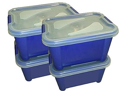 Cajas de plástico para almacenaje con tapa transparente. Capacidad 15L Contenedor de plástico con tapa