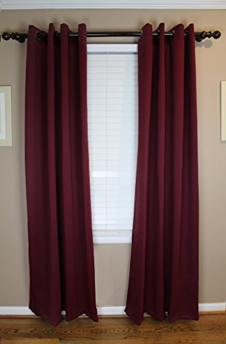 Calyx Interiors Blackout Grommet Curtain 2-Pack Set, 52 W X 84 H each, total Width 104 Inches, Chocolate with Antique Bronze Grommets