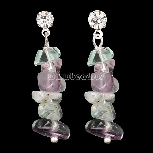 Charm Women Silver Plated Natural Nuggets Gemstone Drop Ear Earrings Jewelry Purple fluorite (Fluorite Purple Earrings)