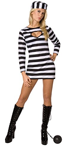 [Womens Prisoner Convict Inmates Costume - Cheap Costume] (Fantastic 4 Costume Uk)