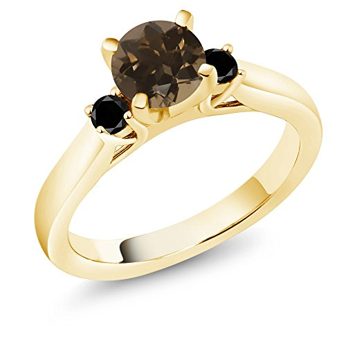 (Gem Stone King 1.00 Ct Smoky Quartz & Black Diamond 18K Yellow Gold Plated Silver 3-Stone Ring (Size 5))