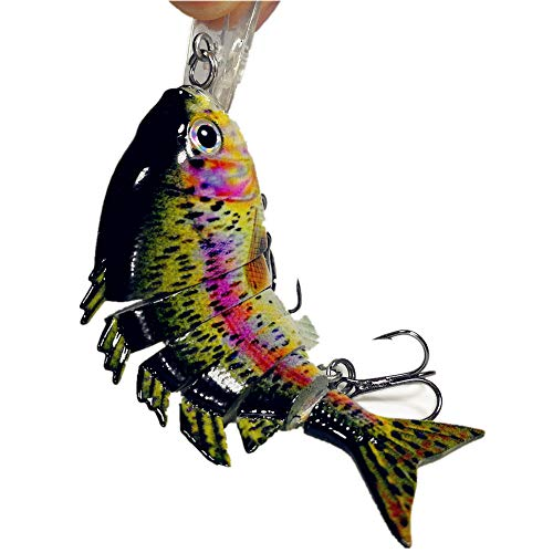 Taityu [Hand-Made] Bionic Multi Jointed Fishing Lure Rugged and Durable Lifelike Hard Bait Bass Yellow Perch Walleye Pike Muskie Roach Trout Swimbait