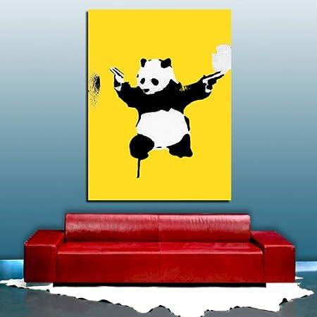 Banksy Bulletproof Panda Dual Wielding YELLOW CANVAS Framed Ready To ...