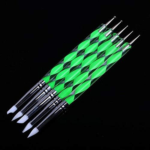 - 5Pcs/Set 2 Way Nail Art Silicone Brush Drawing Pen Marbleizing Dotting Manicure (Color - Green)