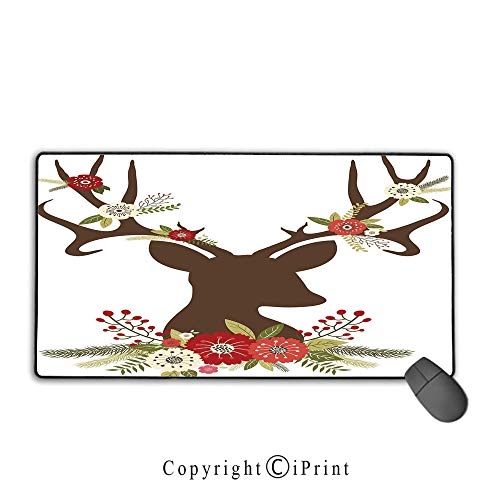 (Non-Slip Rubber Base Mouse pad,Antler Decor,Christmas Inspired Design Reindeer Silhouette Horns with Spring Meadow Flowers Decorative,Multicolor,Suitable for laptops, Computers, PCs, Keyboards, Mouse)