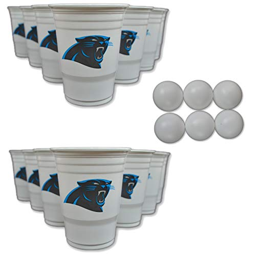 Beer Panthers - NFL Fan Shop Beer Pong Set. Rep Your Favorite Team with the Classic Game of Beer Pong at home or at the Tailgate Party - Comes with 22 Cups and 6 Ping Pong Balls (Carolina Panthers)