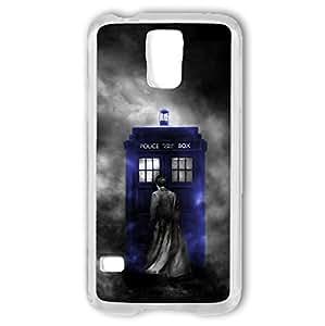 Doctor Dr WHO Samsung Galaxy S5 i9600 Case Tardis Police Box Dalek Hard Plastic Cover ... (Blue Tardis Grey Smoke DR11) by runtopwell