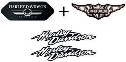 Retrolo Sticker Für Motorradhelm Harley Davidson Komplettes Set Schwarze Flügel 4 Sticker Küche Haushalt