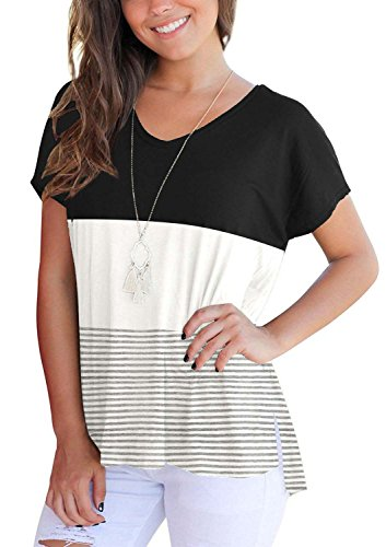c39687aad9db MOLEERE Summer Short Sleeve V Neck Color Block Striped Tee Shirts for Women