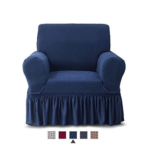 - NICEEC Armchair Slipcover Blue Armchair Covers Two-Tone 1 Piece Easy Fitted Sofa Couch Cover Universal High Stretchable Durable Furniture Protector with Skirt Country Style (1 Seater Navy Blue)