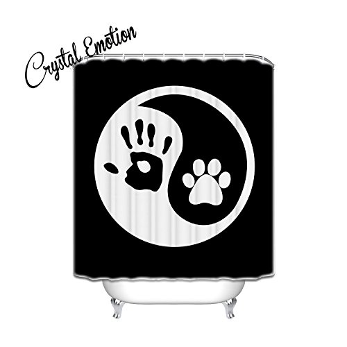 Paw Print Medallion (Crystal Emotion Ying Yang Human Hand Dog Paw shower curtain)