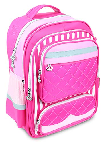 Pink kids backpack with reflective strips for school and travel bag rolling adjustable trolley - Grand Sierra ()