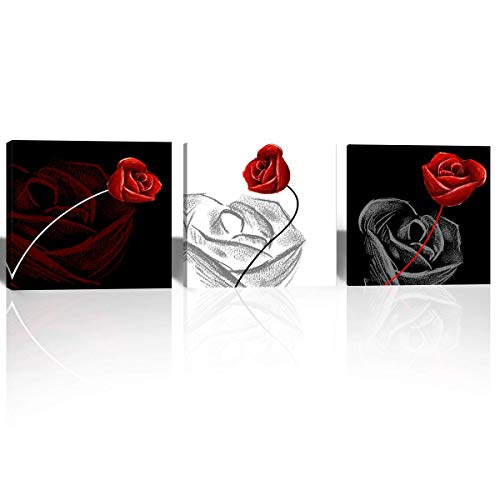 Mon Art-Black and White Picture Red Rose Canvas Print Wall Art for Office Living Room Bedroom Bathroom Flower Artwork Modern Contemporary Nordic Decoration Home Decor 16x16 inch 3 Panels-Framed (Red Contemporary Roses)