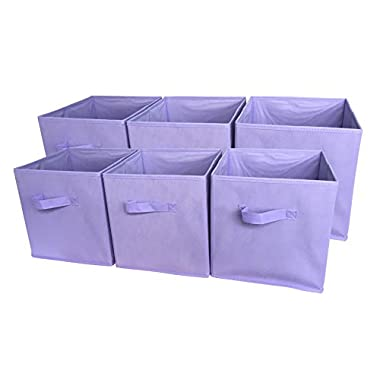 Sodynee® Foldable Cloth Storage Cube Basket Bins Organizer Containers Drawers, 6 Pack, Purple