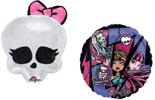 LoonBalloon MONSTER HIGH Badge Skull SKULLETTE Party Mylar 2 Balloons Birthday Supplies GIFT