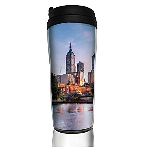 Stainless Steel Insulated Coffee Travel Mug,Melbourne Australia Famous Yarra River Scenic,Spill Proof Flip Lid Insulated Coffee cup Keeps Hot or Cold 11.8oz(350 ml) Customizable printing