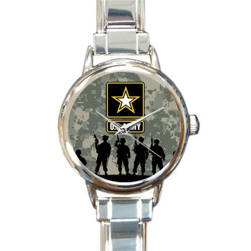 Hot Sale Watch US Army Soldiers and Camouflage Background Round Italian Charm stainless steel Watch
