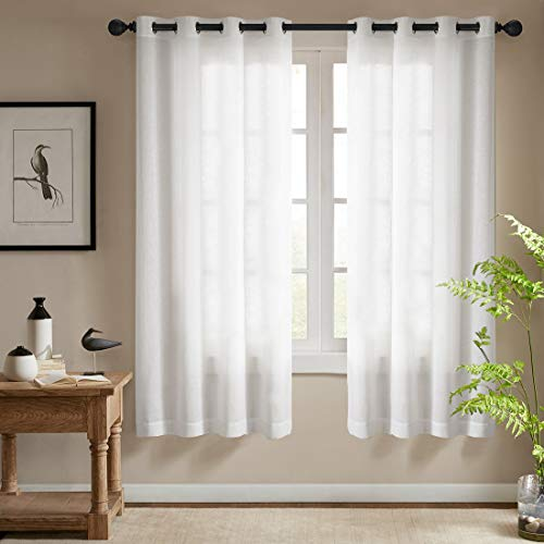 White Semi Sheer Curtains for Bedroom Casual Weave Linen Look Privacy Semi Sheer White Curtains 63 inches Long for Living Room, 1 Pair