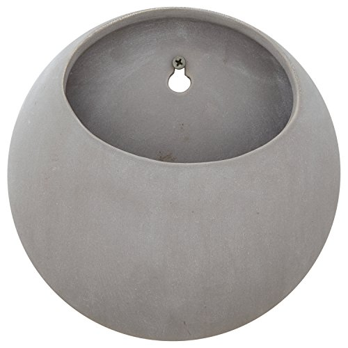 Concrete Round Planter - Rivet Modern Round Indoor Outdoor Hanging Wall Mount Planter Pot - 7.75 Inch, Grey