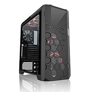 Azza Storm 6000B Full-Tower Negro carcasa de ordenador - Caja de ordenador (Full-Tower, PC, ATX,Micro-ATX, Negro, Rojo/Verde/Azul, 17,5 cm)
