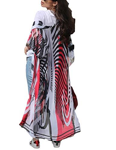 (Ailunsnika Chiffon Red Zebra Print Beach Kimono Cardigan 3/4 Sleeve Open Front Bathing Suit Cover Up for Women)