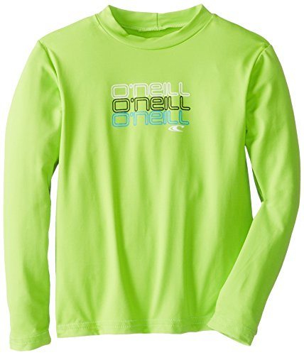 O'Neill Wetsuits Boy's Toddler Skins Long Sleeve Rash Guard T-Shirt, Lime, 4 by O'Neill Wetsuits