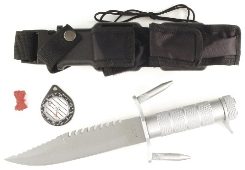 RUKO 7-1/2-Inch Blade Survival Knife with Deluxe Steel Handle and Survival Kit