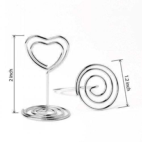 Jofefe 20pcs Mini Place Card Holders Table Number Stand Table Card Holder Wire Table Picture Photo Holder with Heart Shape Menu Memo Clips for Wedding Party, Silver by Jofefe (Image #1)