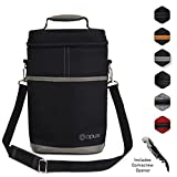 Premium Insulated Wine Bag by OPUX | Elegant Wine Carrying Tote, Extra Protection, Convenient, Durable Wine Bottle Carrier | Corkscrew Included (2 Bottle, Dark Gray)