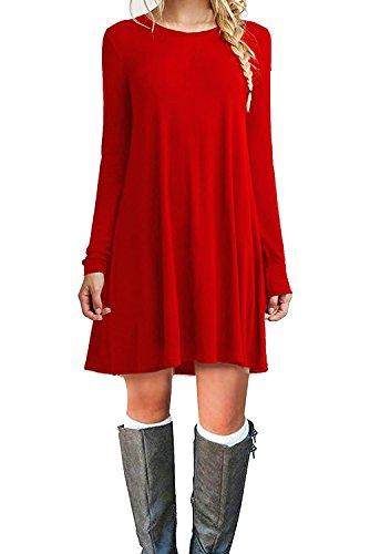 MOLERANI Women's Casual Plain Simple T-shirt Loose Dress (L, Red)