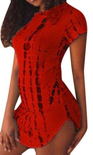 Fashion Short Slim Women Dress Printed Night Sleeves Irregular Jaycargogo Red Club xFcgA7w87q