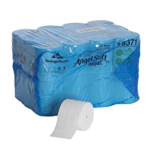"""Angel Soft ps 193-71 Compact 4.05"""" Length, 3.85"""" Width, 4.75"""" Roll Diameter Coreless 2-Ply Premium Bathroom Tissue (Roll of 36)"""