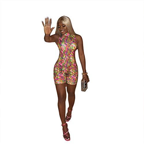 Trendy Sexy Romper Women Jumpsuit Rhinestones Bandage Playsuit Summer Turtleneck Sleeveless Short Bodysuit(Multi,XXL)