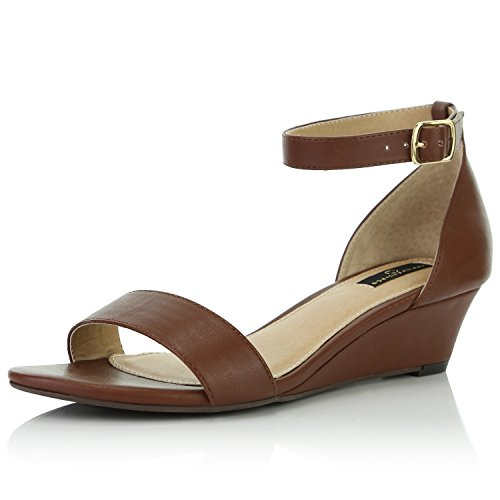 (DailyShoes Women's Wedge Open Toe Strap Chunky Heel Sandal Fashion Shoes, Brown PU, 10 B(M) US)